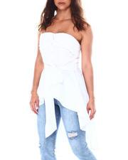 Fashion Lab - Strapless hig-low hem tie back tunic-2513402
