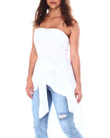 Fashion Lab - Strapless hig-low hem tie back tunic