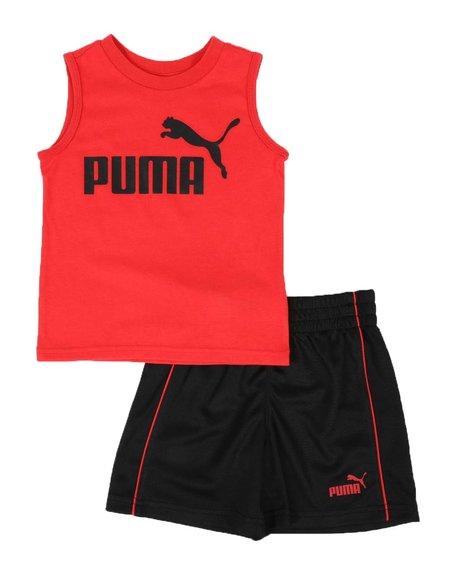 Puma - 2 Pc Logo Muscle Tee & Mesh Shorts Set (2T-4T)