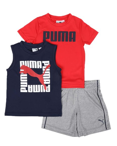 Puma - 3 Pc Logo Tee, Muscle Tee & Shorts Set (2T-4T)