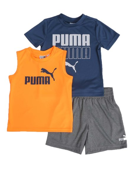 Puma - 3 Pc Logo Tee, Muscle Tee & Shorts Set (2T-4T)