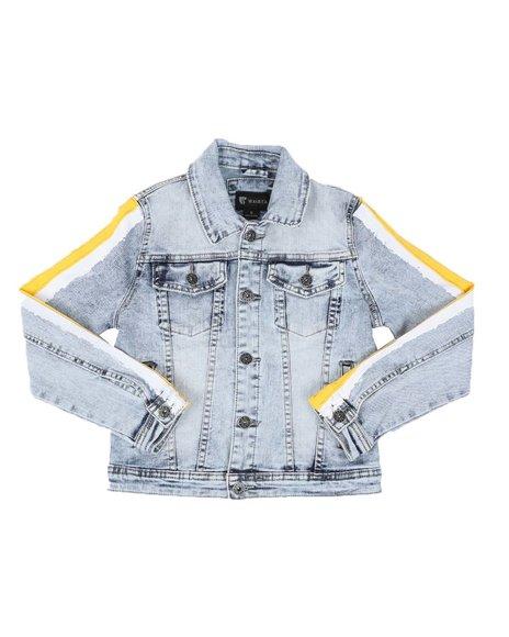 Arcade Styles - Gold/White Stripe Side Acid Denim Jacket (8-20)