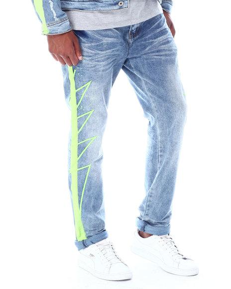 Vie + Riche - Green Neon Stripe colorsplash Jean