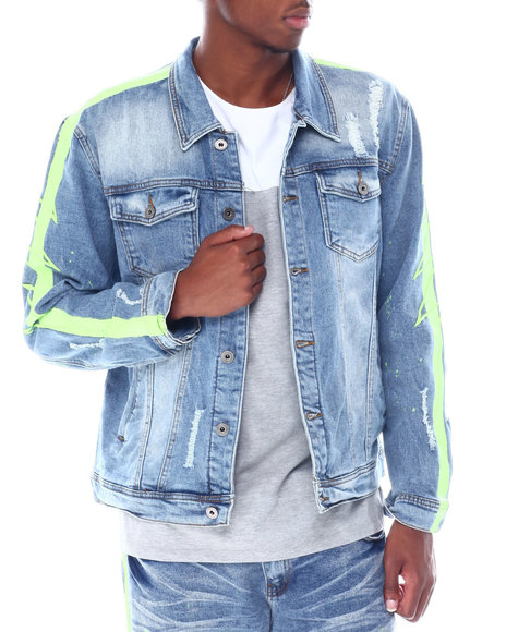Vie + Riche - Green Neon Stripe colorsplash Denim Jacket