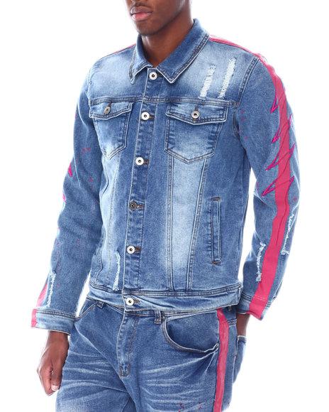 Vie + Riche - Pink Neon Stripe colorsplash Denim Jacket