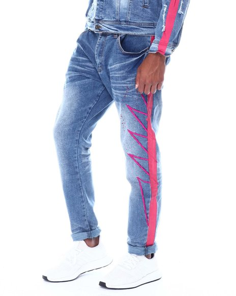 Vie + Riche - Pink Neon Stripe colorsplash Jean