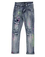 Boys - Paint Splatter Rip & Repair 5 Pocket Jeans (8-20)-2516678