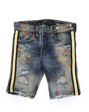 Sizes 2T-4T - Toddler - Distressed Paint Splatter Denim Shorts W/ Contrast Taped Sides (2T-10)-2516687