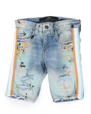 Sizes 2T-4T - Toddler - Distressed Paint Splatter Denim Shorts W/ Contrast Taped Sides (2T-10)-2516696