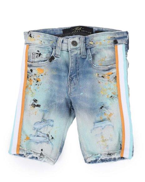 Jordan Craig - Distressed Paint Splatter Denim Shorts W/ Contrast Taped Sides (2T-10)