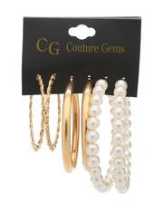 Fashion Lab - 3 Pair Earrings Set-2517704