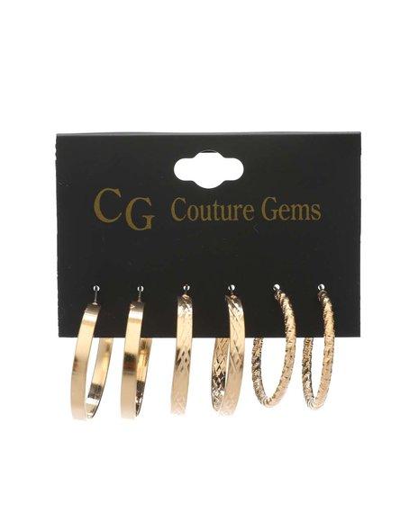 Fashion Lab - 3 Pair Earrings Set