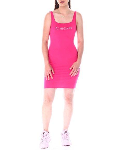 Bebe - S/L Rhinestone Logo Bodycon Dress