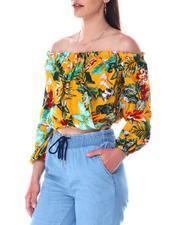 Fashion Lab - Off shoulder drape front ruffle top-2517410