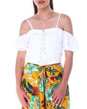 Fashion Lab - Lace up top w/grommets cold shoulder sleeve w/elastic smock back adjustable strap-2517452