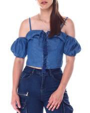 Fashion Lab - Lace up top w/grommets cold shoulder sleeve w/elastic smock back adjustable strap-2517110