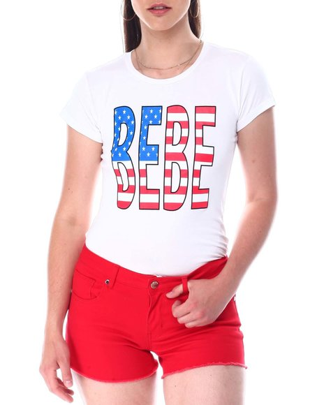 Bebe - Bebe Americana Print S/S Tee
