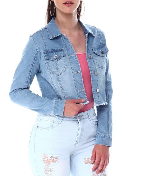 Bebe - Denim Raw Edge Cropped Jacket