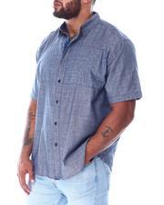 Big & Tall - Chambray Woven Shirt With Polka Dot Panel (B&T)-2511203