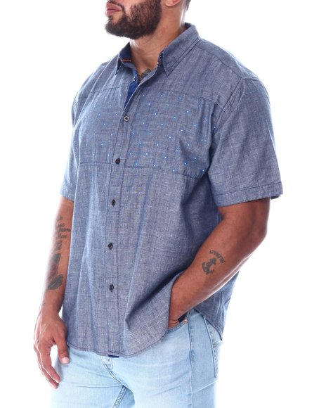 Buyers Picks - Chambray Woven Shirt With Polka Dot Panel (B&T)