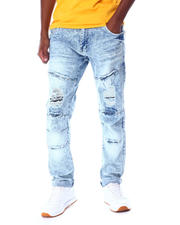 Jeans & Pants - WASHED RIPPED SLIM STRAIGHT JEAN-2519307