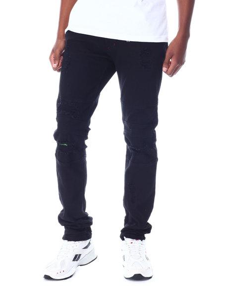 Makobi - Shredded Jeans w Color Underlay