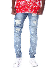Jeans & Pants - Biker Damaged effect Bleach Splatter Jean-2520604
