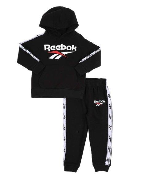 Reebok - 2 Pc Jacquard Taping Fleece Pullover Hoodie & Jogger Pants Set (2T-4T)