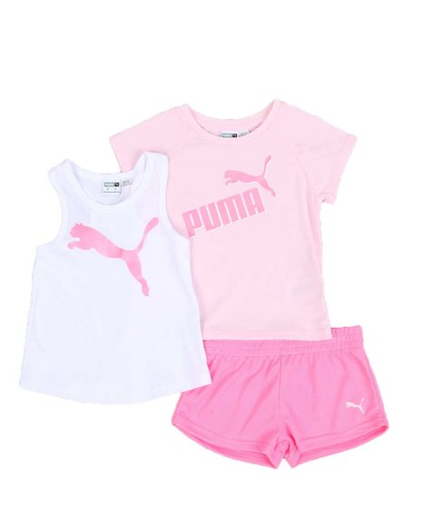 Puma - 3 Pc Logo Tee, Racerback Tank Top & Mesh Shorts Set (2T-4T)