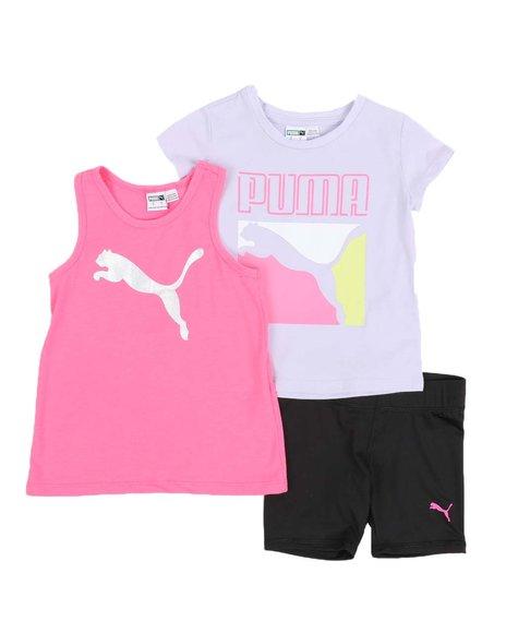 Puma - 3 Pc Logo Tee, Racerback Tank Top & Bike Shorts Set (4-6X)