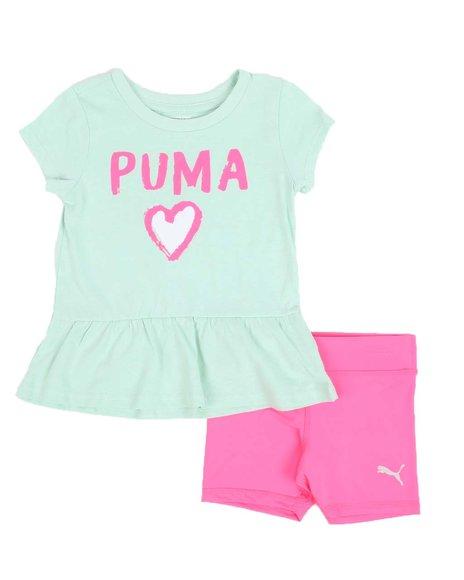 Puma - 2 Pc Logo Tee & Bike Shorts Set (2T-4T)