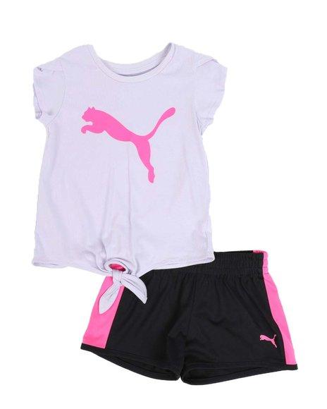 Puma - 2 Pc Logo Tie Front Tee & Tricot Shorts Set (4-6X)