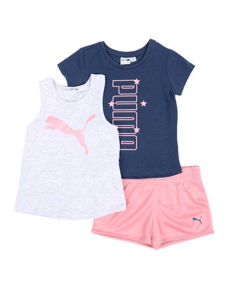 Puma - 3 Pc Logo Tee, Racerback Tank Top & Tricot Shorts Set (4-6X)