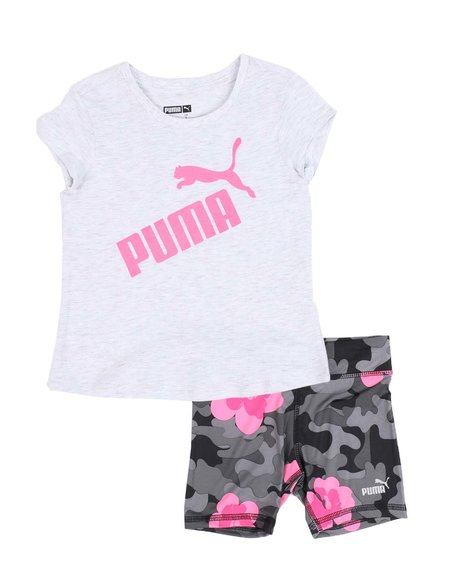 Puma - 2 Pc Logo Tee & Bike Shorts Set (4-6X)
