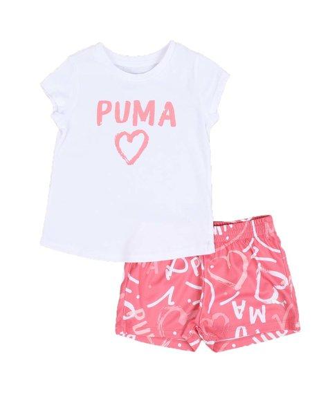 Puma - 2 Pc Logo Tee & Mesh Shorts Set (4-6X)