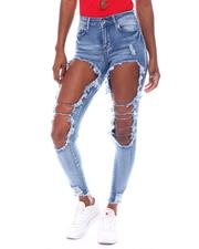 Jeans - Cut Out Front Roll Cuff Raw Edge Jean-2523224