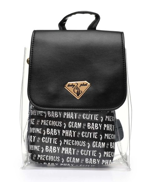 Baby Phat - Baby Phat Printed Clear Backpack W/ Inner Bag