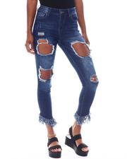 Women - Destructed Fringe Hem Cropped Skinny Jean-2523216
