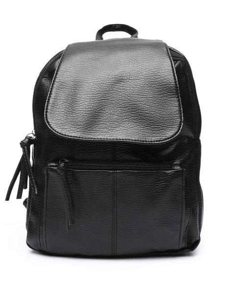 Fashion Lab - PU Backpack W/ Flap Pocket