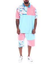 Makobi - Camo Contrast Polo Shirt & Shorts Set (B&T)-2523137
