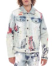 SMOKE RISE - Americana Paint Splatter Denim Jacket-2525335