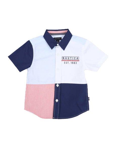 Nautica - Color Block Button Down Shirt (2T-4T)