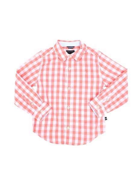 Nautica - Checkered Long Sleeve Button Down Shirt (4-7))