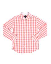 Boys - Checkered Long Sleeve Button Down Shirt (8-20)-2521787