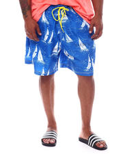"Nautica - Vintage Boat Print 8"" Swim Trunks (B&T)-2526264"