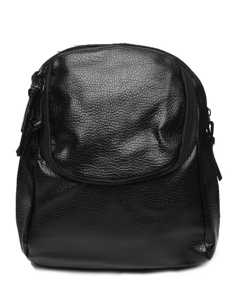 Fashion Lab - PU Backpack W/ Zipper Pocket
