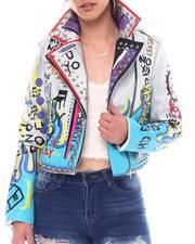 Azalea Wang - Printed Pu Biker Jacket-2526879