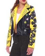 cartoons-pop-culture - Multi Printed Pu Biker Jacket-2526873