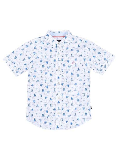 Nautica - Sailboat Print Button Down Shirt (8-20)