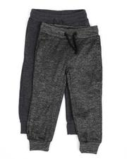 Arcade Styles - 2 Pack Marled & Solid Fleece Jogger Pants (2T-4T)-2529615